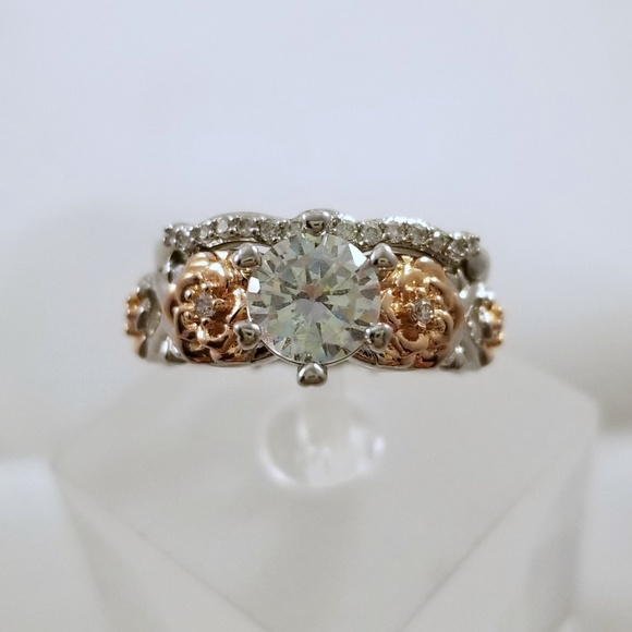 Jewelry - Sterling Two Tone Floral Ring Set